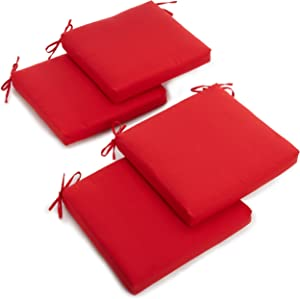 Blazing Needles Twill 19-Inch by 20-Inch by 3-1/2-Inch Zippered Cushions, Red, Set of 4
