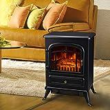 Cheminée électrique thermostat flamme LED luminosité réglable surface chaufée 30㎡950W/1850W verre trempé noir neuf 39