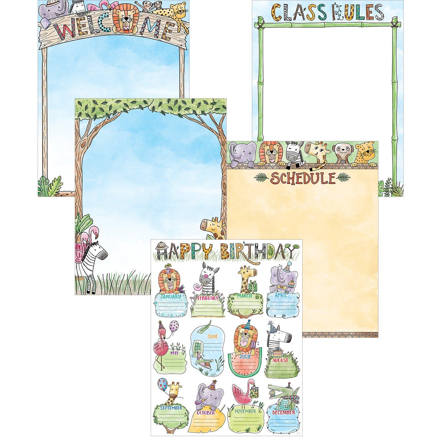 Creative Teaching Press Wall Chart Safari Friends Classroom Essentials 5-Chart Pack, Ctp 2251 with