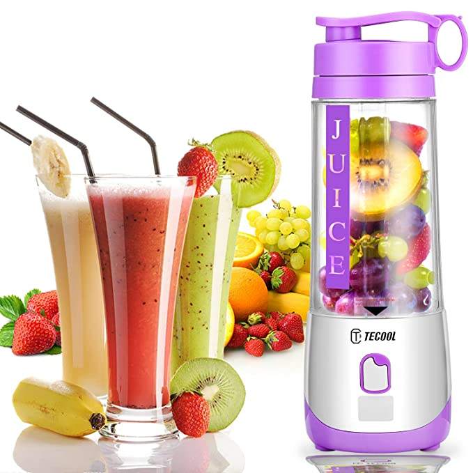 Electric Blender Mini Portable Personal Size Juicer Cup USB Rechargeable Mixer 400ml Food Grade Water Bottle Portable Fruit Juicer Machine by TECOOL - Purple
