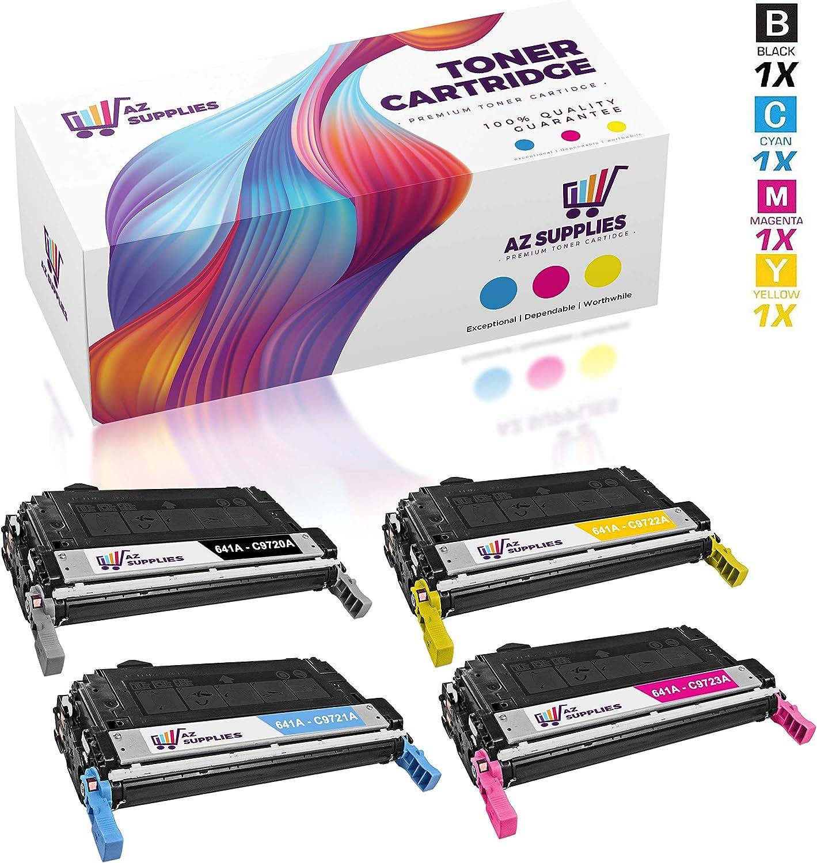 AZ Remanufactured Toner Cartridge Replacement for HP 641A in Color Laserjet 4600,4600dn,4600hdn,4600n,4650,4650dn,4650dtn,4650n,C9720A, C9721A, C9722A, C9723A (Black, Magenta, Yellow, Cyan, 4-Pack)