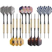 Fléchettes 15 Pièces Set de Fléchettes Pointes Acier 18 Grammes avec Taille-crayon,Tiges en Aluminium et 5 Styles d'ailettes