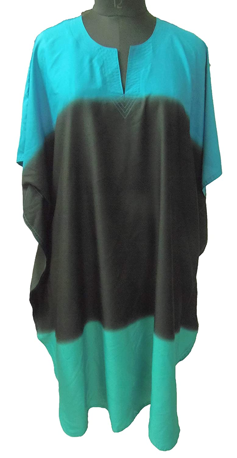 SUNROSE Gradation Black Sea Green Blue Plus Size Kaftan Caftan Beach Cover up RJ0435
