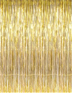 Adorox Metallic Silver Gold Rainbow Foil Fringe Curtains Party Wedding Event Decoration