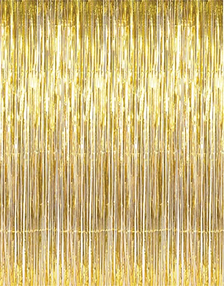 Set of 2 Shiny Gold Metallic Foil Fringe Door \u0026 Window Curtain Party Decoration 3\u0027