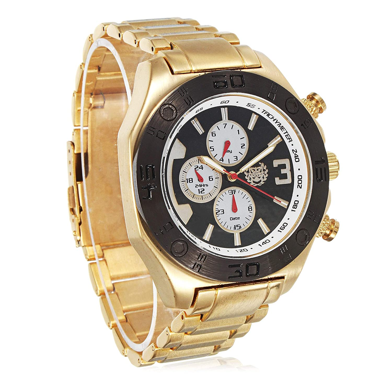 Amazon.com: Gold Watch for Men Metal Band Big Face 50mm Business Work Wacht Reloj Oro y Negro para Hombre Acero Inoxidable by ShoppeWatch: Watches