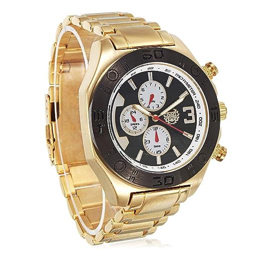 Kronwerk Hombress Vestido Reloj-Oro Tono Acero Pulsera Large Cara-Negro-Dial Multifunción