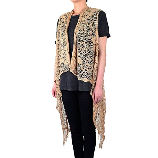 473b7db8d55b0 White Deer Women s Sleeveless Floral Lace Vest Cardigan Kimono Open Front  Long Fringe (Brown)