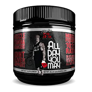 Rich Piana 5% Nutrition All Day You May BCAA & Joint Recovery Drink (Fruit Punch) 17.2oz (465g) 30 Servings