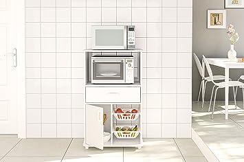 Boahaus White Kitchen Storage Cabinet Fruit Bowl, 1 Drawer & Microwave  Stand White