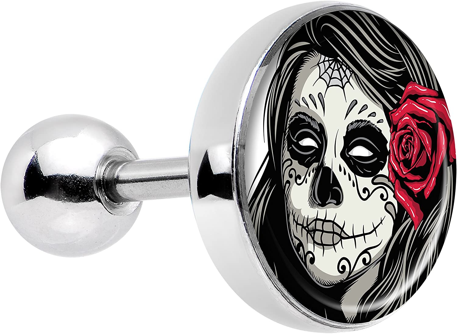 Day of the Dead Pink Sugar Skull Screw Fit Plugs//Gauges