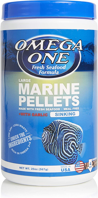 Omega One Garlic Marine Pellets, Sinking, 4mm Large Pellets, 20 oz