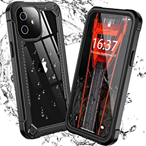 GOLDJU for iPhone 11 Case Waterproof, Built-in Screen Protector Heavy Duty Full Body Protective Shockproof Dustproof IP68 Underwater Clear Phone Case for iPhone 11 6.1 Inch (Black)
