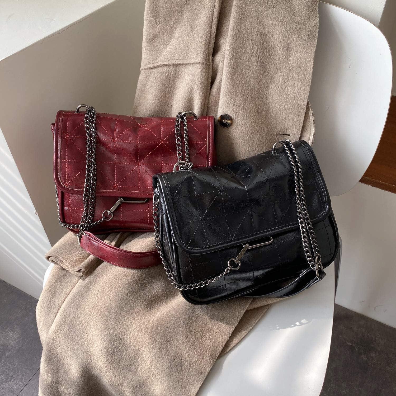 Soft Pu Leather Crossbody Bags For Women Chain Design Shoulder Messenger Bag Lady Small Handbags Black Bags