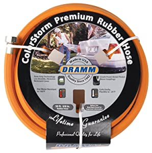 "Dramm 17002 ColorStorm Rubber Garden Hose, 5/8"" X50' Orange"