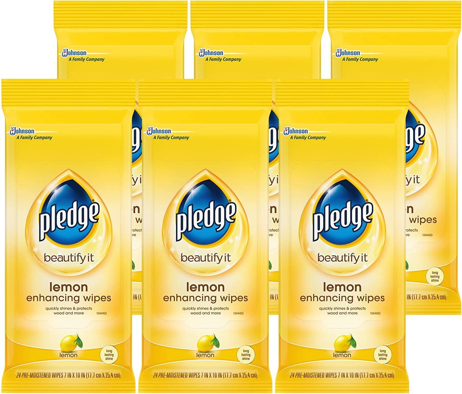 Pledge Multisurface Furniture Polish Wipes, Works on Wood, Granite, and Leather, Cleans and Protects, Lemon - Pack of 6 (72 Total Wipes)