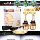 9006 LED Headlight Bulbs HB4 9012, 16000 Lumen 6000K White Super Bright High Beam / Low Beam / Fog Lights / Daytime Running Light Replacement Bulbs Kit (Package of 2)