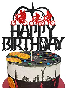 KAPOKKU TV Program Cake Topper Cupcake Toppers Happy Birthday Decorations for Stranger Things Theme Party Supplies Eleven Things Cake Decorations for Children