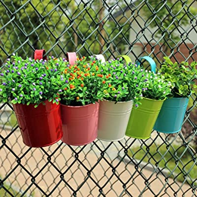 Afco Metal Iron Wall Hanging Flower Pot Garden Fence Balcony Plants Holder Bucket Vintage Planter Container(no plant) size 15.5cm x 10cm x 8cm (Yellow): Garden & Outdoor