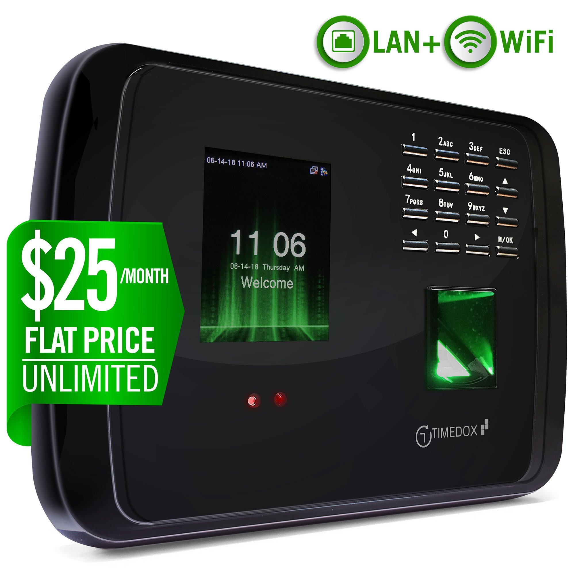 Timedox Tandem Pro WiFi/LAN Biometric Time Clock | $25/Month Unlimited Employees & Adminis Support | Login from Anywhere, Anytime Real-Time Cloud Attendance Solution by Timedox