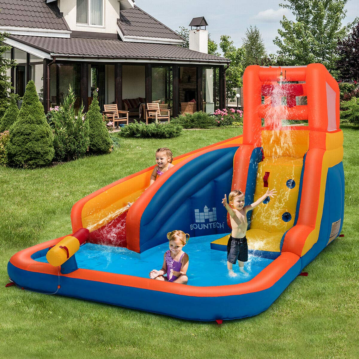 Heize Best Price Orange Inflatable Splash Water Bouncer Slide Bounce House w/ Climbing Wall & Water Hose Splash Pool(U.S. Stock) by Heize Best Price (Image #7)