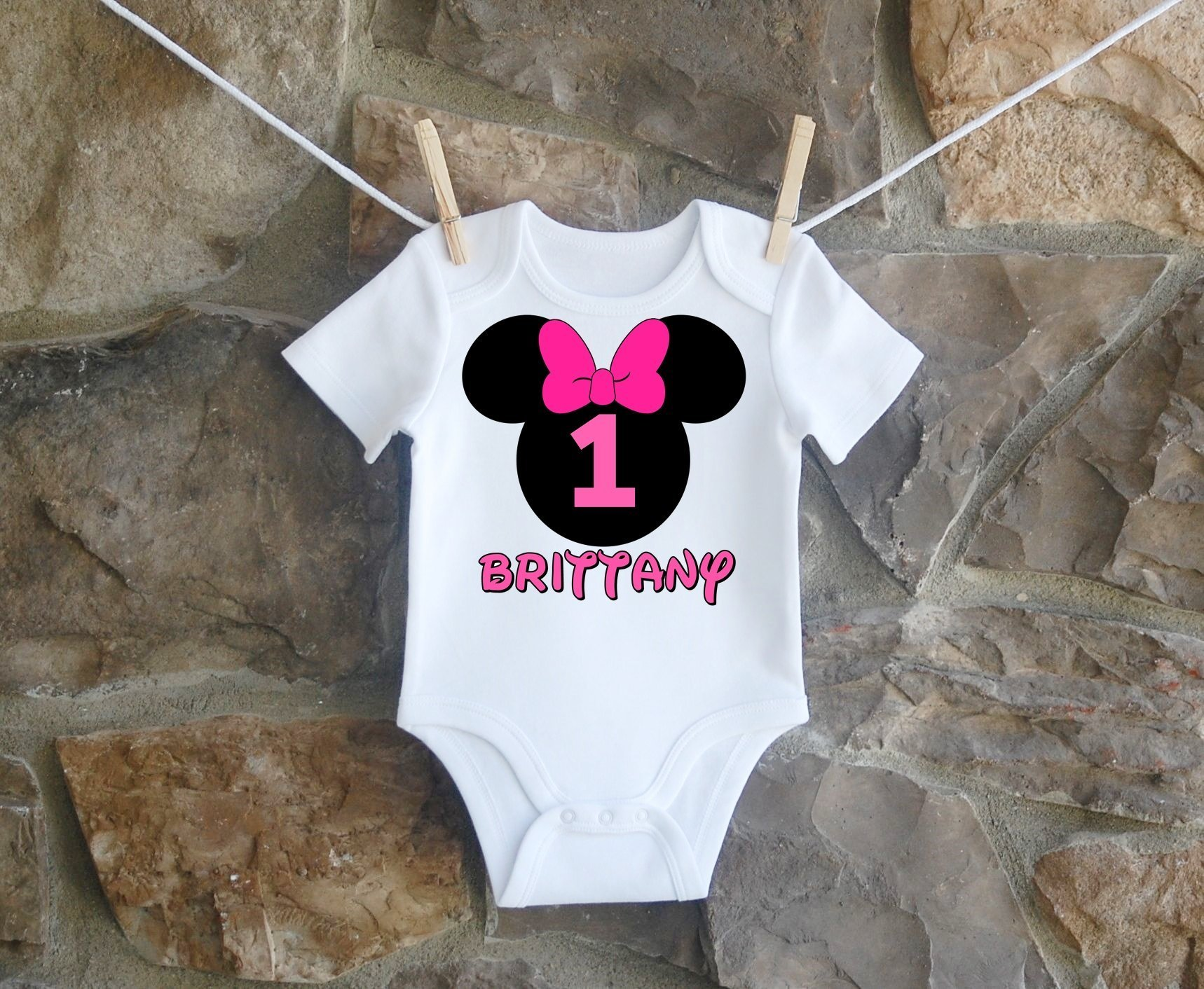 Minnie Mouse Birthday Shirt, Minnie Mouse Birthday Shirt For Girls, Personalized Girls Hot Pink Minnie Mouse Ears Birthday Shirt, Customized Minnie Mouse Birthday Shirt
