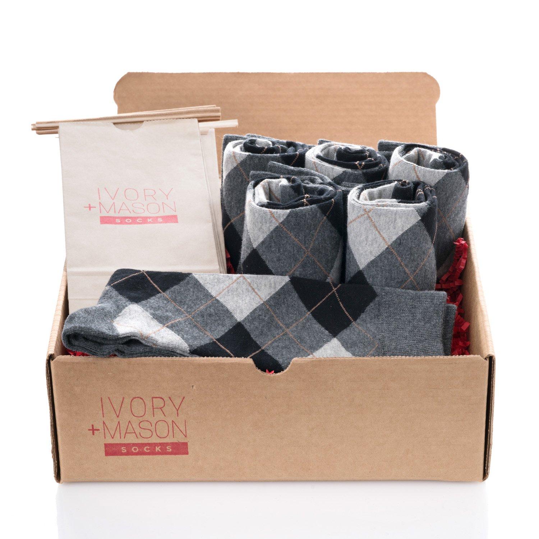Ivory + Mason Groomsmen Socks - Men's Argyle - Grey Black Color - Premium Cotton - Size 8-13 (6 Pairs)