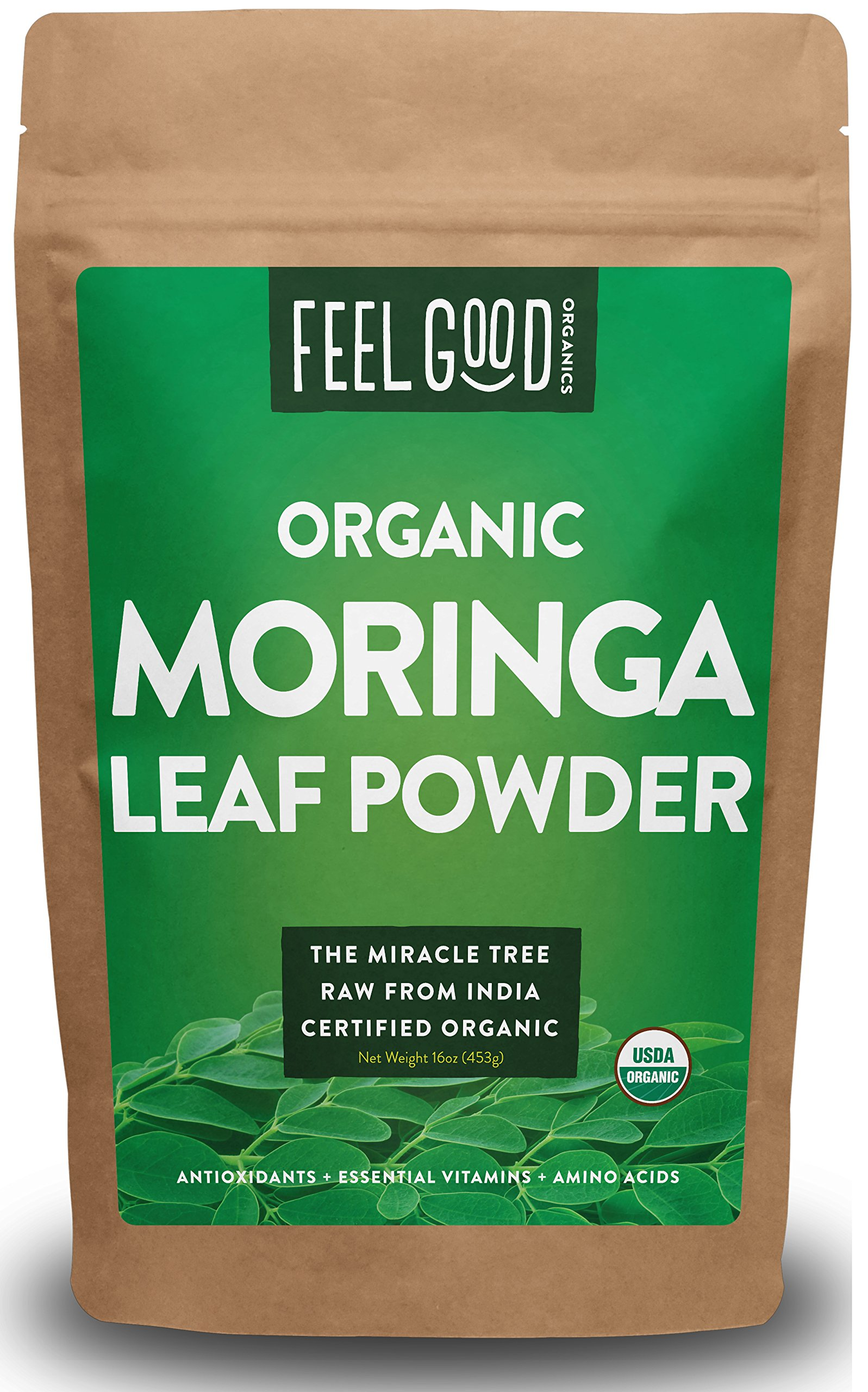 Organic Moringa Leaf Powder - 16oz Resealable Bag (1lb) - 100% Raw From India - by Feel Good Organics by Feel Good Organics
