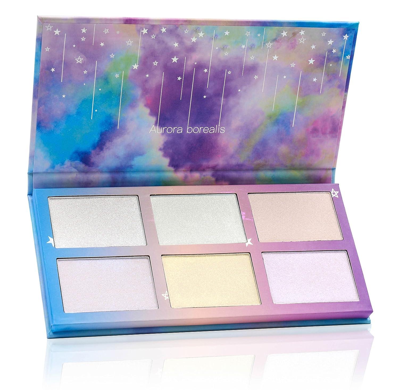TZ Cosmetix - Aurora Borealis 6 colori illuminante viso make up palette - Polvere dalla texture morbida illuminare contorno del viso - Tavolozza duochrome illuminante tz-6fb TZ Cosmetics
