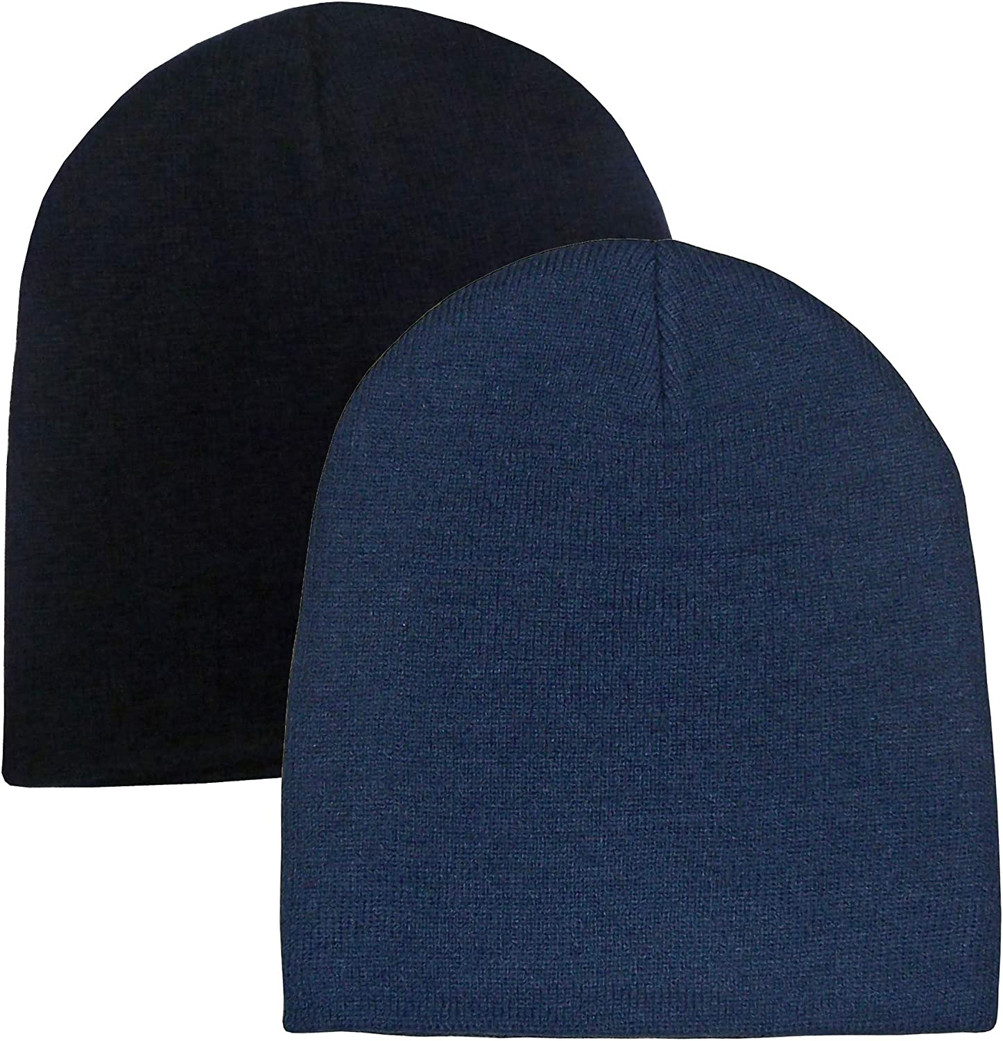 NIce Caps Kids Unisex Double Layered Knit Beanie Cap 2 Hat Pack