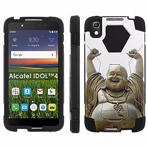 Alcatel One Touch IDOL 4 [Nitro 4/49] Phone Cover, Happy Buddha - Black Hexo Hybrid Armor Phone Case for Alcatel One Touch IDOL 4 [Nitro 4/49]