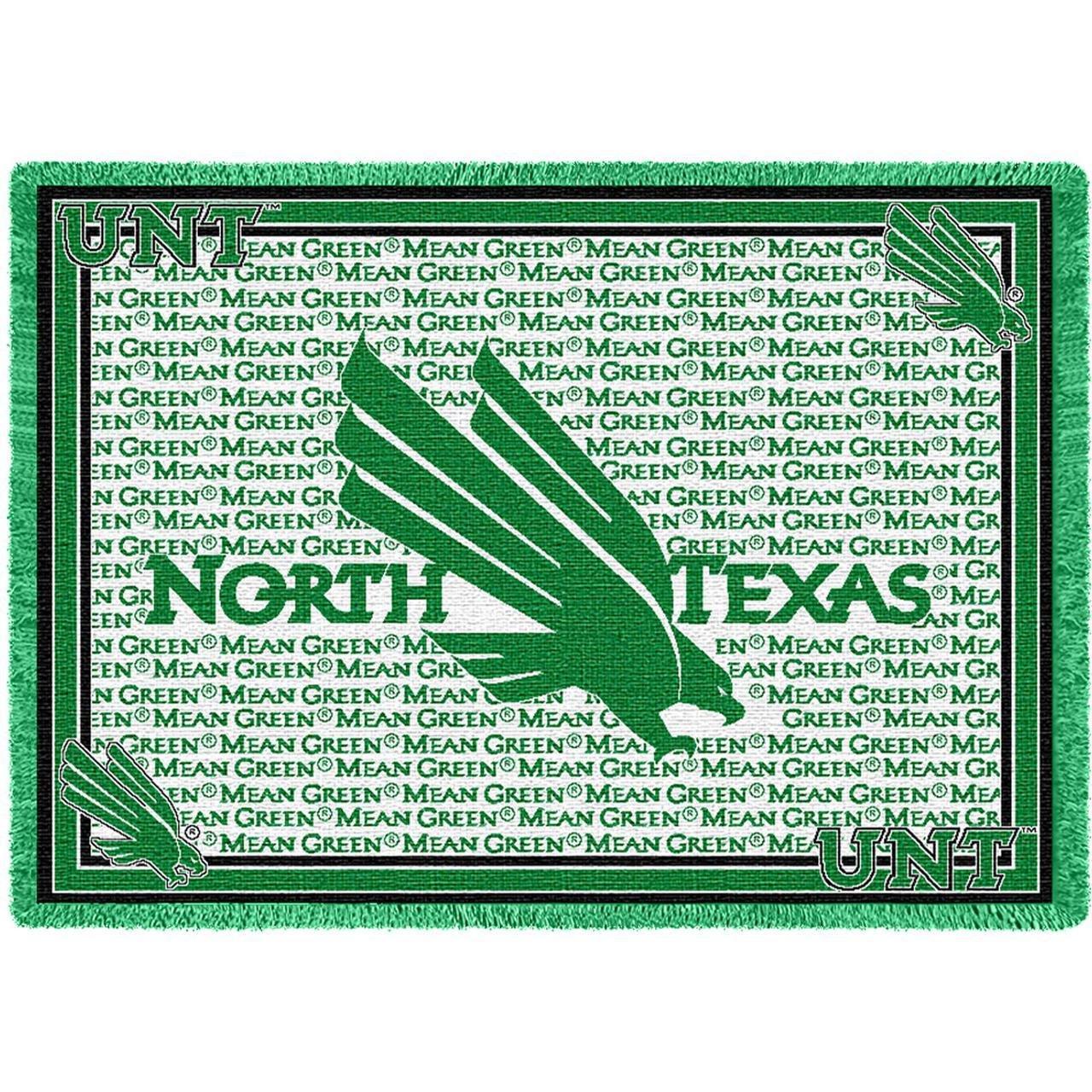 University of North Texas Mean Green 2 Stadiumブランケット、48インチ高by 69インチ、とはWovenから100 %コットン。 B014V7IL4Y