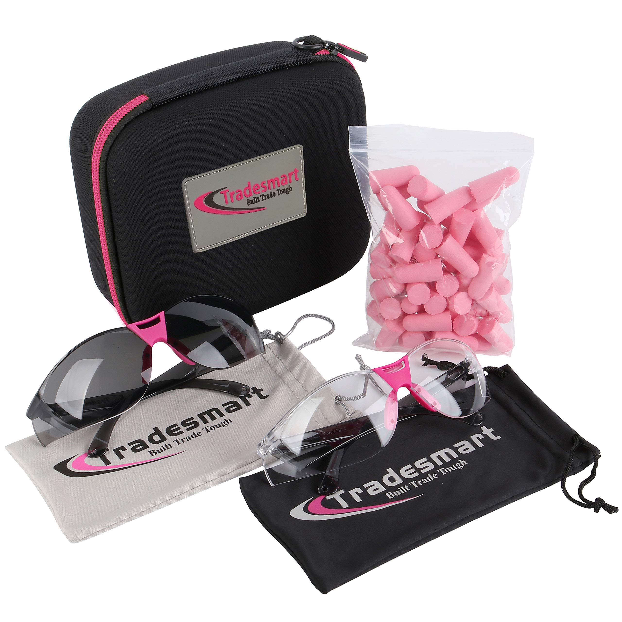 TRADESMART Pink/Clear & Tinted Safety Glasses Pink Pack with NRR33 Earplugs & Protective Case Anti Fog & Anti Scratch Treatment by TRADESMART BUILT TRADE TOUGH