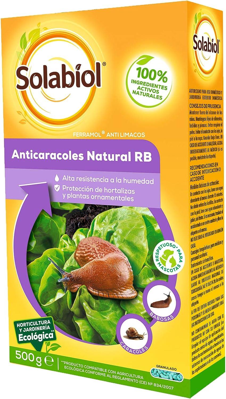 Solabiol Anticaracoles Natural RB, protección contra Caracoles y babosas, 500gr, Verde agua, 4.40x10.5x18 cm
