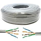 Mr. Tronic 50 Metros Cable de Instalación Red Ethernet Bobina 50m | CAT5e, AWG24, CCA, UTP | Color Gris