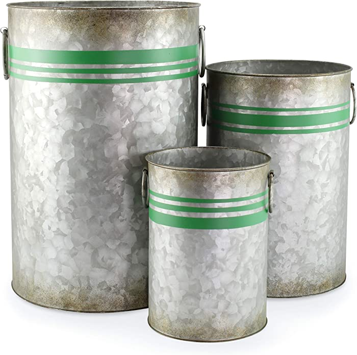 AuldHome Galvanized Greenery Buckets (Set of 3), Large, Medium, and Small Metal Farmhouse Decor Galvanized Cans with Green Ribbon Motif for Christmas Greenery and Flower Arrangements