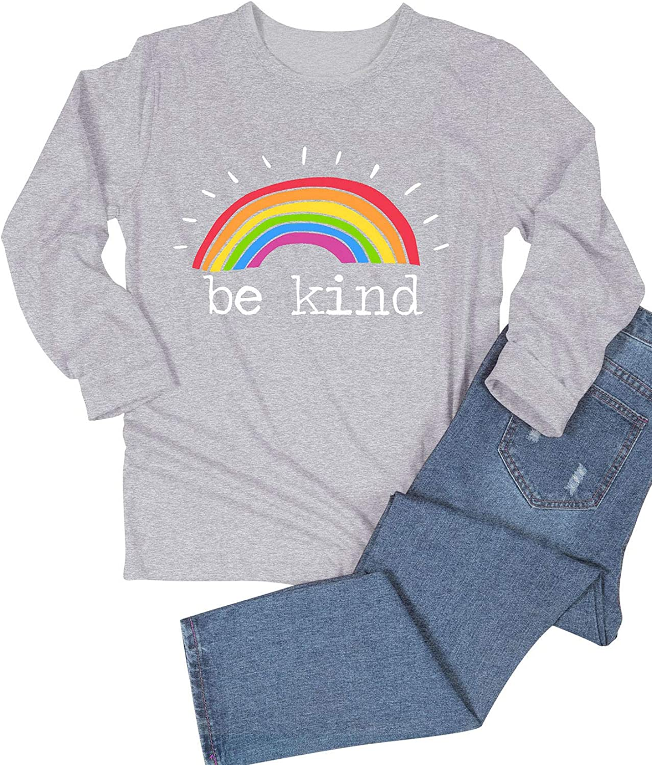 Dresswel Women Be Kind Pullover Rainbow T Shirt Long Sleeve Tops Crew Neck Jumpers Blouse
