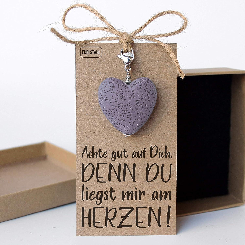 Lavaherz Anh/änger Flieder//Lila Freundschaftsgeschenk f/ür Halskette
