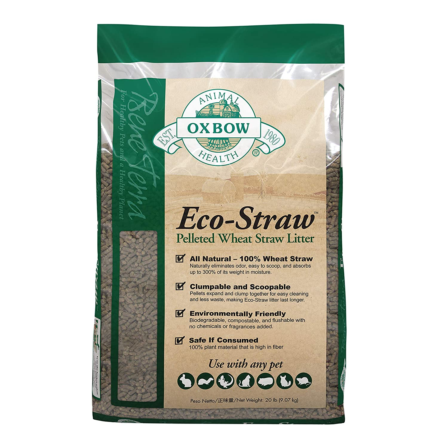 OXBOW PET PRODUCTS 448061 Eco-straw Small Animal Bedding for Pets, 20-Pound