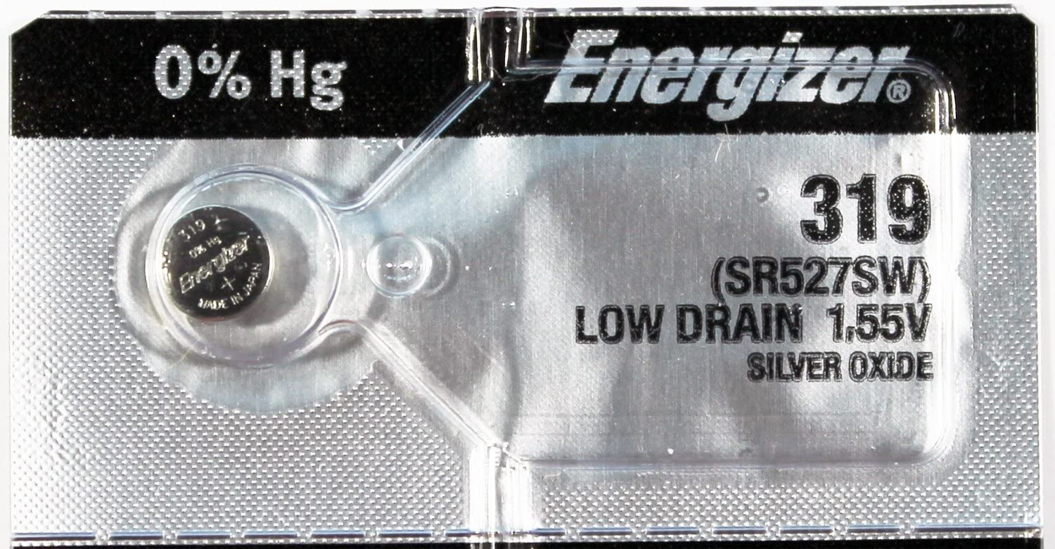 2PC Energizer 319 SR527SW 1.55V Silver Oxide Cell Battery - Made in Japan