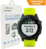 Exuun (1-Pack) Garmin Forerunner 935 Screen Protector Glass, 0.3mm Ultra-Thin 9H Hardness 2.5D Round Edge Watch Tempered Glass Screen Protector for Garmin 935