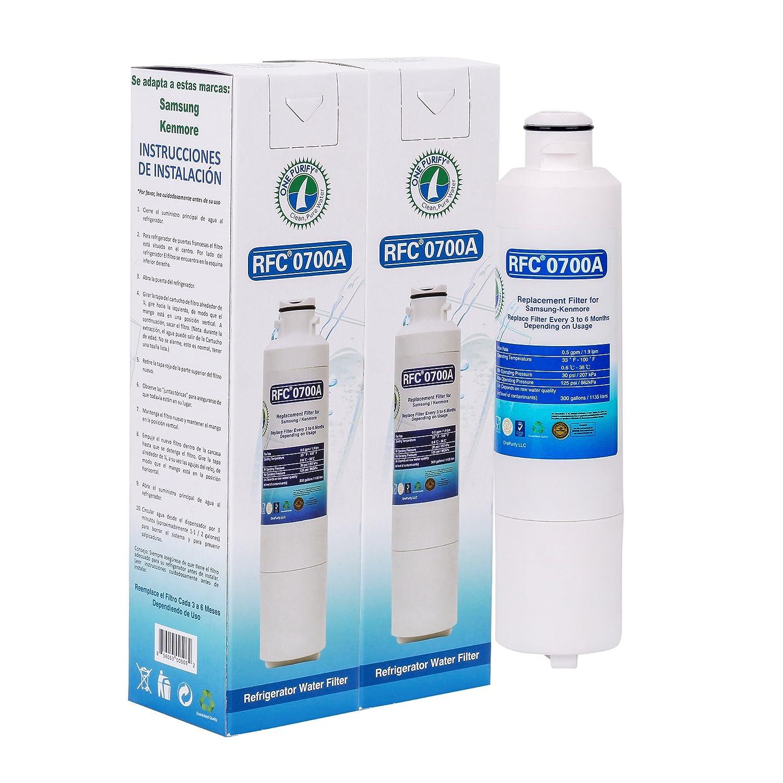 OnePurify RFC0700A2PK Samsung DA29-00020B HAF-CIN/EXP Compatible Refrigerator Water Filter (2 Pack)