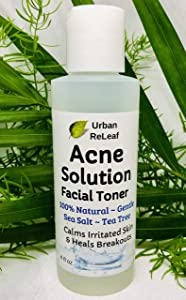 Urban ReLeaf Acne Solution Facial Toner! Sea Salt & Tea Tree. Disinfects Skin, Calms & Heals breakouts. 4 oz. Gentle Effective. 100% Natural & Soothing