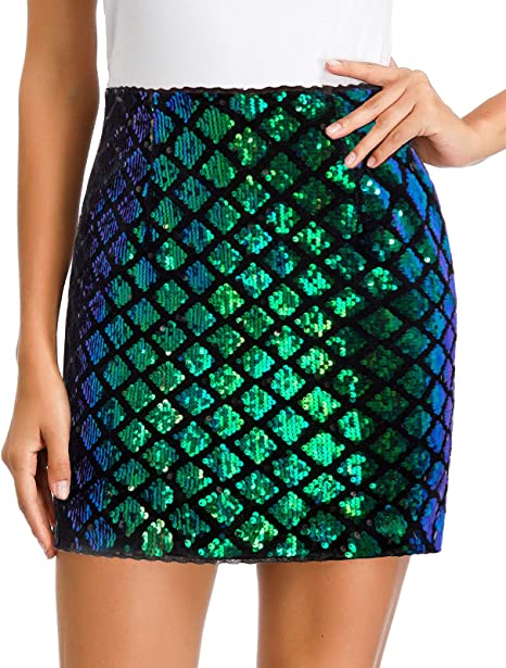 MANER Womens Sequin Skirt Sparkle Stretchy Bodycon Mini Skirts Night Out  Party Novelty Skirts