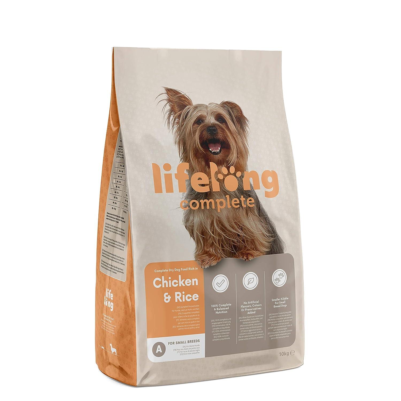 Marca Amazon - Lifelong Complete- Alimento seco completo para perros (razas pequeñas) rico en pollo y arroz, 1 x 10 kg: Amazon.es: Productos para mascotas
