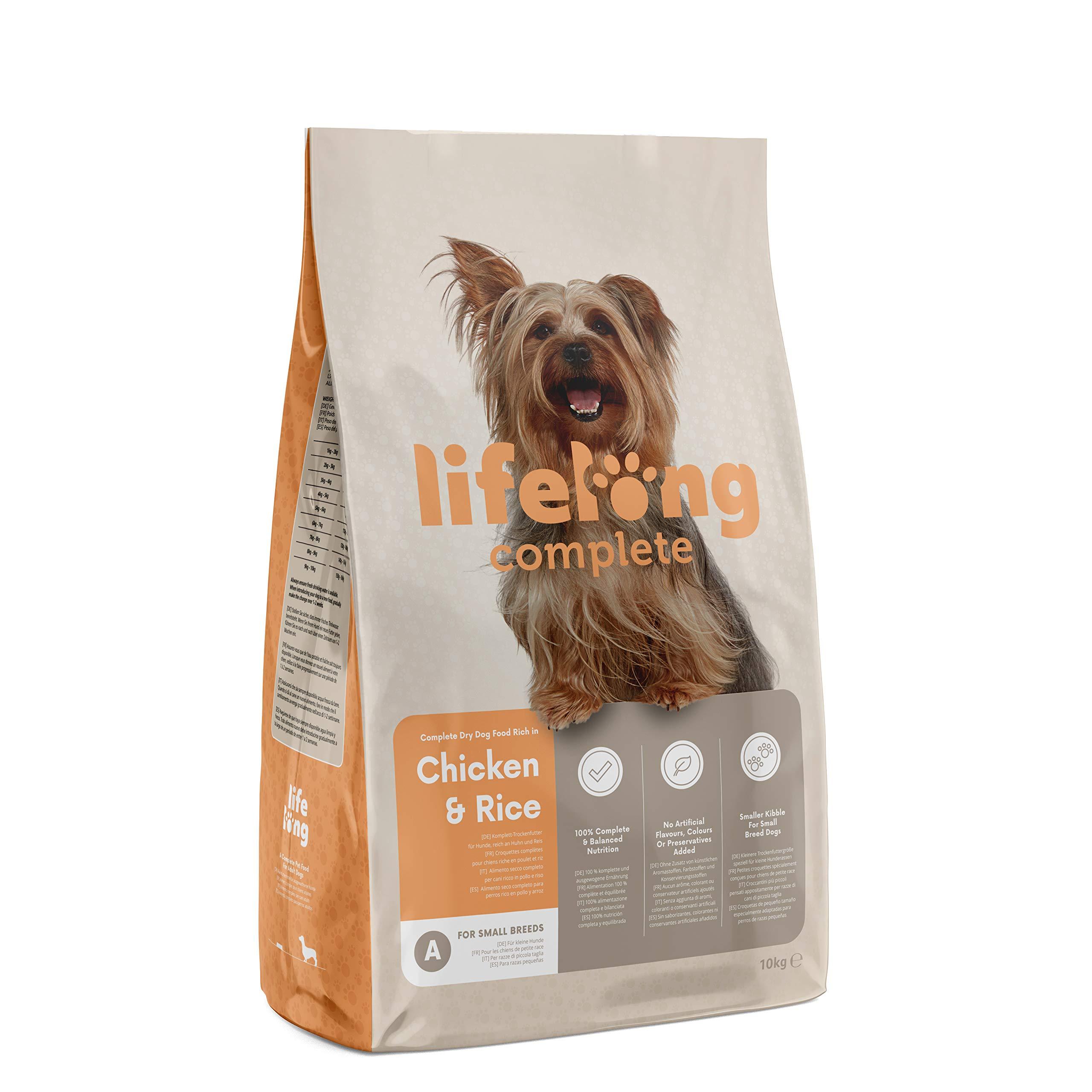 Marca Amazon - Lifelong Complete- Alimento seco completo para perros (razas pequeñas) rico