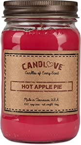 "CANDLOVE ""Hot Apple Pie Scented 16oz Mason Jar Candle 100% Soy Made in The USA"