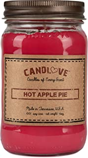 """product image for Candlove """"Hot Apple Pie"""" Scented 16oz Mason Jar Candle 100% Soy Made in The USA"""