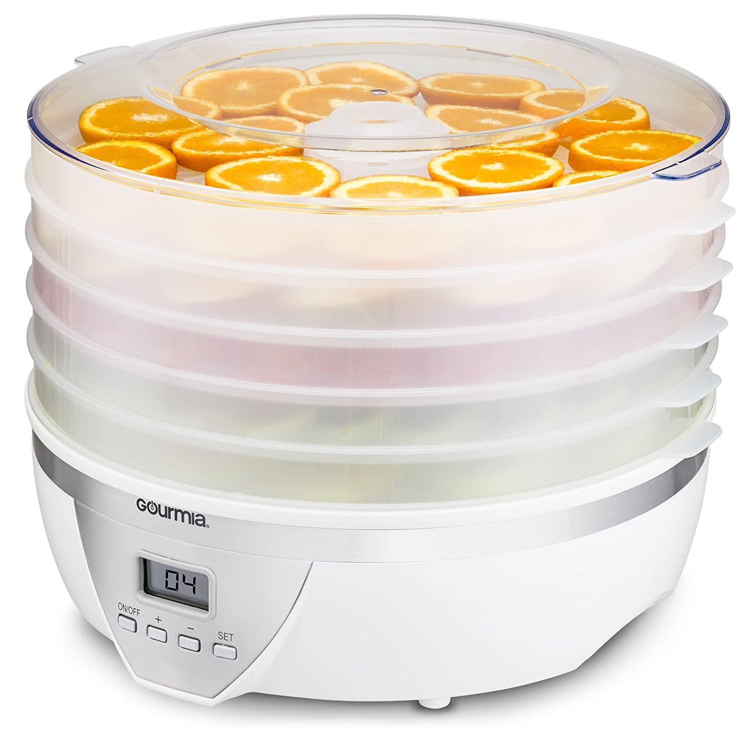 Gourmia GFD1550 Food Dehydrator with Digital Temperature Settings, Five Nesting Tray Drying System for Beef Jerky, Fruits and More, BPA Free Plus Free Recipe Book