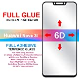 Hupshy® Huawei Nova 3i Tempered Glass Screen Protector Full Glue Edge to Edge Fit 9H Hardness Bubble Free Anti-Scratch Crystal Clarity Screen Guard for Huawei Nova 3i - Black (FTG01)